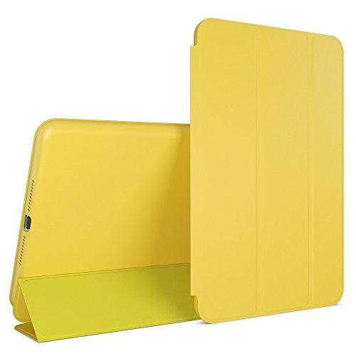 NALIA Custodia compatibile con iPad Mini 4, Cover Ultra-Slim Smart-Case Protettiva Stand-Fold Eco-Pelle Vegan Fronte & Retro, Tablet Bumper Sleeve Copertura Guscio Protezione Sottile - Giallo