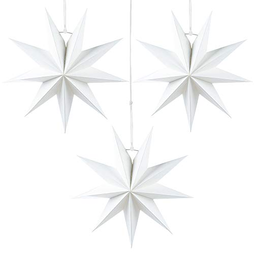 Julhängande stjärndekoration, 3 st hängande vita stjärnor, 9 poäng vit pappersstjärna, diameter 30 cm, för bröllop julfest gör-det-själv