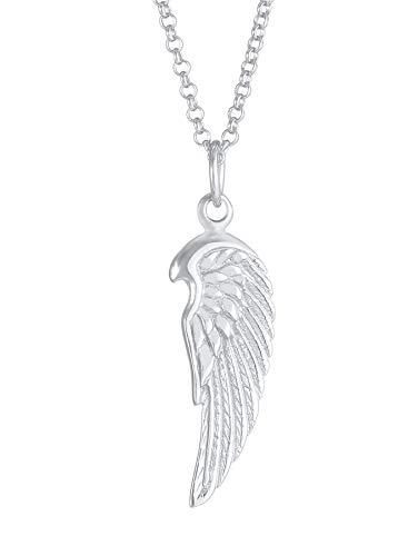 Kuzzoi Collar de plata para hombre con colgante de alas (24 mm), collar para hombre en plata de ley 925, cadena de moda con alas de ángel, cadena con colgante hecho a mano