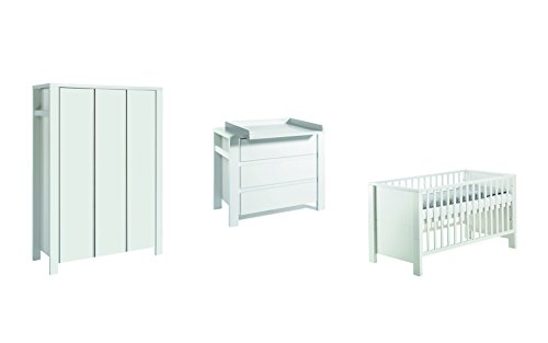 Schardt 11 651 52 02 - Kinderzimmer Milano weiß bestehend aus Kombi-Kinderbett, Umbauseiten, Wickelkommode mit Wickelaufsatz und Kleiderschrank mit 3 Türen