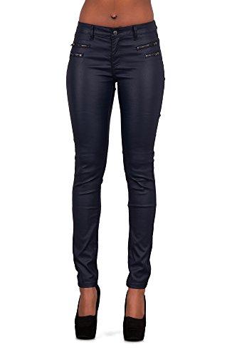 Leggings delgados de piel para mujer con aspecto de vaqueros, tallas 6,8,10,12 y14 Azul azul marino 36 (S) Encaja 26 Cintura