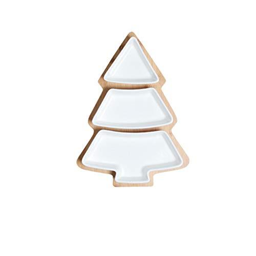 WUHUAROU Platos para árboles de Navidad, Bandeja de bambú de cerámica, Plato...