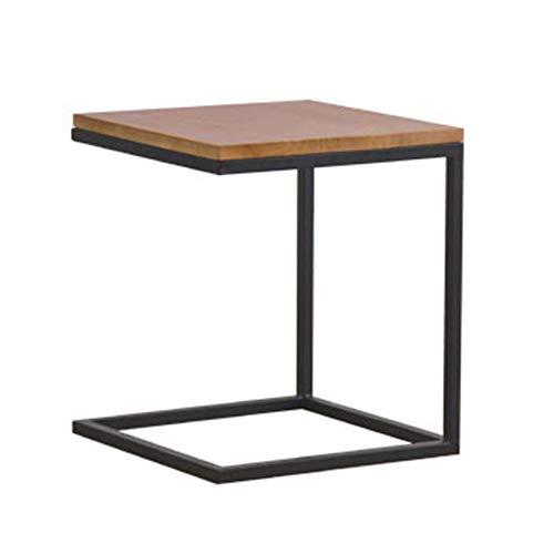Tafels HUO Sofa Side End Met Moderne C Vorm Bouw Zwart Staal Frame En Natuurlijk Hout
