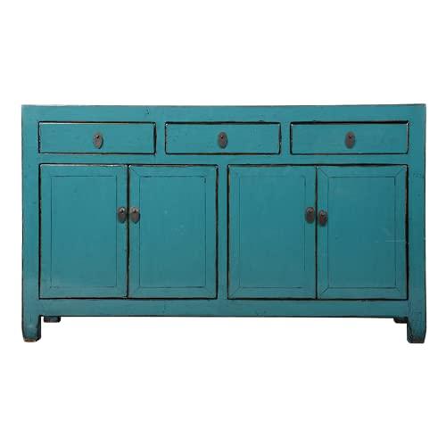 Fine Asianliving Aparador chino antiguo azul brillante W154xD40xH92cm aparador cómoda de cajones inspirado en Ming muebles chinos orientales de madera pintada a mano asiática 0x0x0cm
