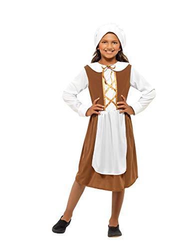Smiffys Costume de jeune fille époque Tudor, marron, avec robe, chapeau et faux tablier Déguisement-Enfant, 44015M, 7-9 Ans