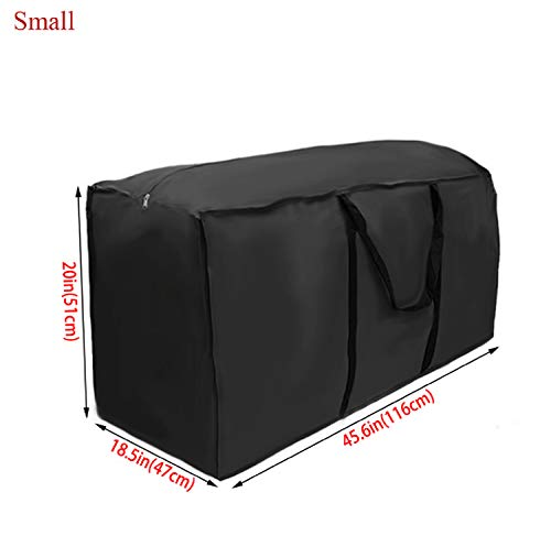 New Outdoor Garden Furniture Tent Cushion Storage Bag Pouch Waterproof Case Cover (Black, 116x47x51cm)