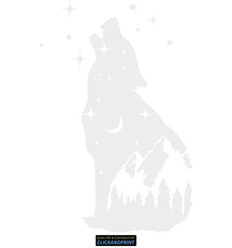 CLICKANDPRINT Aufkleber » Night Wolf, 70x46,0cm, Weiß • Wandtattoo/Wandaufkleber/Wandsticker/Wanddeko/Vinyl