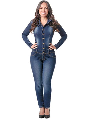 LOWLA Colombian Long Sleeves Sleeveless Skinny One Piece Denim Romper and Jumpsuits for Women Sexy Enterizos Colombianos de Mujer Blue 10