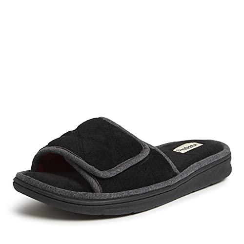 Dearfoams Men's Cooper Quilted Terry Adjustable Slide Slipper, Black,...