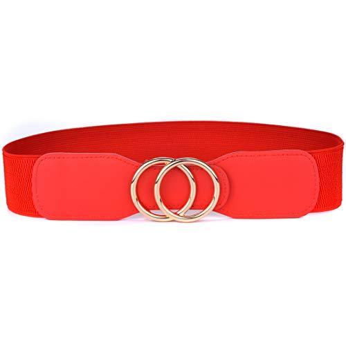 Beltox Women's Elastic Stretch Wide Waist Belts w Double Rings Gold/Silver Buckle (Red w Gold Buckle, M-XL(33-41 inch stretch range))