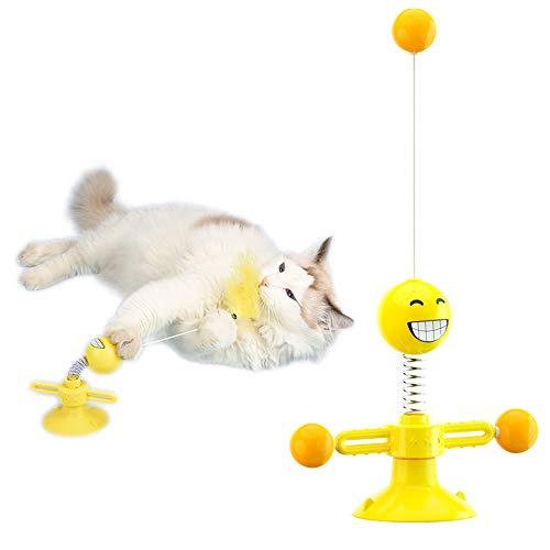 Speyang Juguete Giratorio para Gatos, Juguete Interactivo de Molino de Viento, Juguetes Gatos con Ventosa, Juguetes con Plumas para Gatos, Juguete Placa Giratoria para Gato, con Bola (Amarillo)