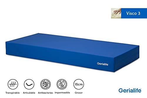 Gerialife® Colchón Geriátrico Hospitalario Articulado | 3 cm de Viscoelástica | Funda Sanitaria Impermeable (80x190)