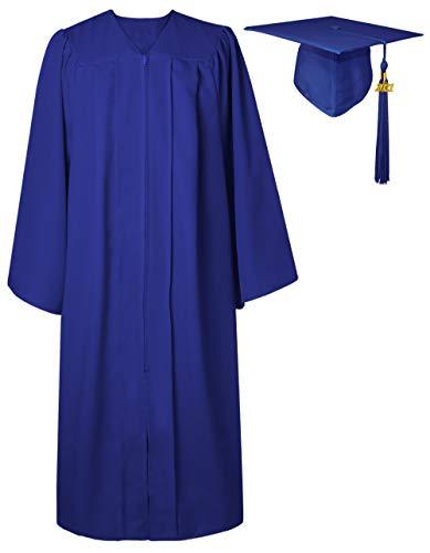 GraduatePro Toge Diplome 2021 Chapeau Universitaire Adulte Graduation Cap and Gown Université École Secondaire Maître Costume Femme Homme Bleu Royal L