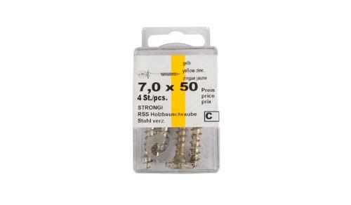 meingartenversand.de Schrauben für Einschlag Bodenhülsen/Einschlaghülsen zum Befestigen von Zaunpfosten im Erdreich im Maß 7 x 50 mm aus beschichtetem Stahl - 4 Stk. pro Packung