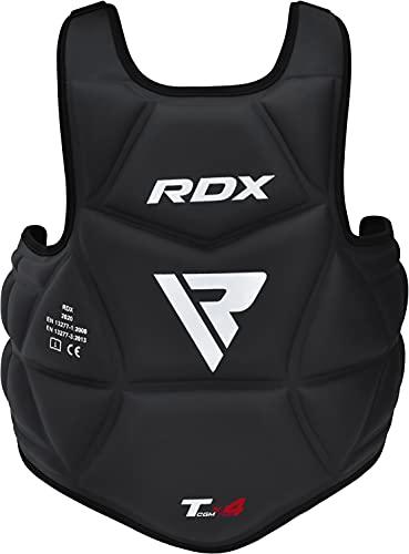 RDX Körperschutz Kampfsport, Bauchschutz Boxen MMA Kickboxen Muay Thai Body Protector, SATRA Genehmigt, Verstellbar Kampfweste Taekwondo Körperschutzweste Brustschutz Karate, Körperpanzer Chest Guard