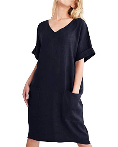 CNFIO Vestido Verano para Mujer Mini Falda para Mujer Casual con Cuello en V de Manga Corta A-Azul Oscuro M