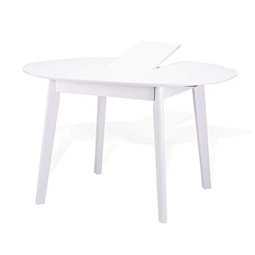 Extendable Round Dining Room Table Modern Solid Wood, White Color