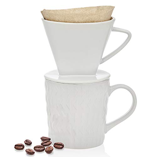 Godinger Pour Over Coffee Maker Dripper and Coffee Mug Brew Set, Bone China - 14oz