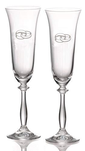 Copas Champán Grabadas para Bodas en cristal de Bohemia - Grabado Gratis