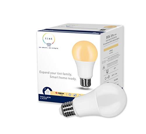 tint von Müller-Licht Smarte LED Lampe E27, Birnenform, warmweiß (2700K), dimmbar, 9W ersetzt 60W Lampe, Zigbee, funktioniert mit Alexa