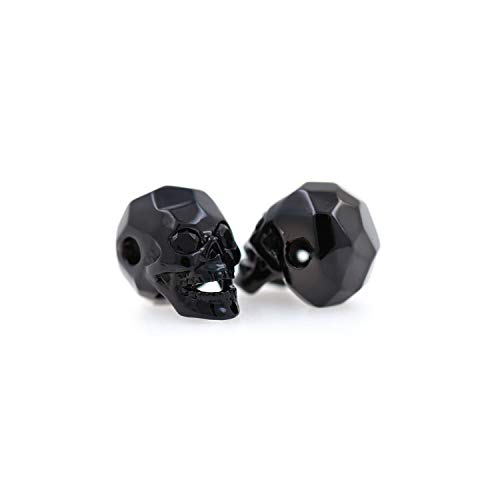 Faceted Black Skull Head Beads,Micro Pave CZ Bracelet Spacers,Men's Jewelry Making Supplies 8x13mm (10Pcs, Black)