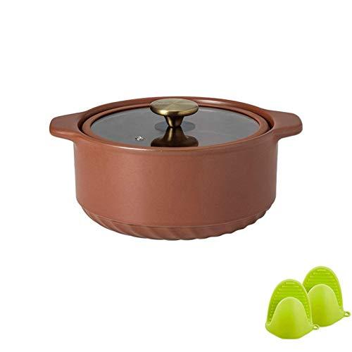 MotBach Pote Saludable cocinar panacoles nórdico cerámica cazuela doméstico Stock con Tapa de Vidrio Transparente Porridge Grande Papilla de Gato (Color : 2.5l Green)
