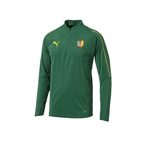 Cameroon Official Soccer Gift Mens 1/4 Zip Training Top Small Green
