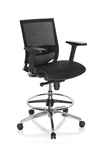 hjh OFFICE 657618 Arbeitsstuhl TOP Work 78 Netzstoff Schwarz Counterstuhl ergonomisch, Armlehnen & Sitztiefe verstellbar