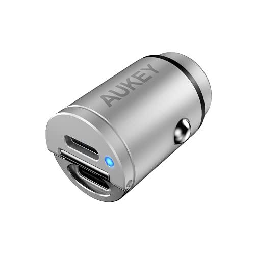 シガーソケット USB 充電器 AUKEY オーキー Nano Series 30W USB-C 2ポート Enduro Duo カーチャージャー ブラック CC-A4-BK スマホ iPhone Android 充電 小さい コンパクト 軽量 スリム 出っ張らない PD3.0 QC3.0 2年保証 (シルバー)