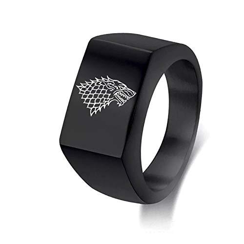 Sping Jewelry Game of Thrones Direwolf Ring Stark Familienwappen Zeichen König der Nordgrenze Titan Steel Flat Band Ringe