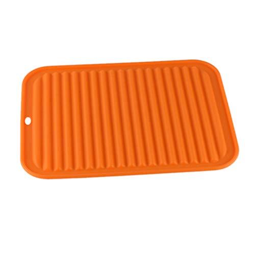TOPBATHY - Escurreplatos de silicona con bandeja para secar el agua 1 pieza naranja
