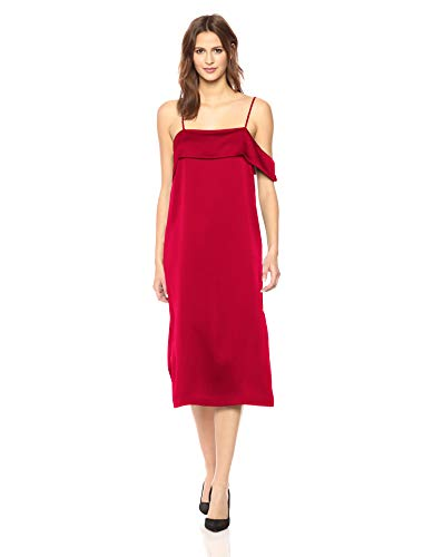 kensie Women's Shiny Polyester Dress, deep red, M