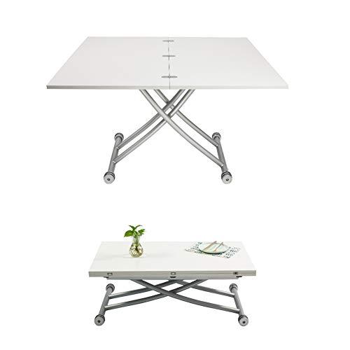 Mesa de comedor y sillas modernas, mesa de comedor convertible en mesa de centro, mesa cuadrada moderna ajustable
