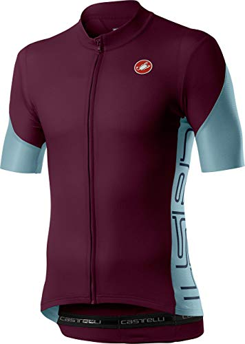 Castelli Cycling Entrata V Jersey for Road and Gravel Biking l Cycling - Bordeaux - Large