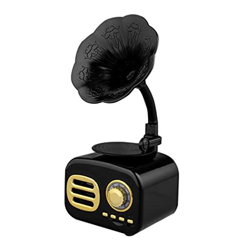 IYUNDUN Altavoz Bluetooth Portátil, Altavoz Inalámbrico De Gramófono Retro Altavoz Estéreo Estilo Madera con Audio HD Y Graves Mejorados, Tarjeta De Interfaz USB Vintage para Viajes, Oficina En Casa
