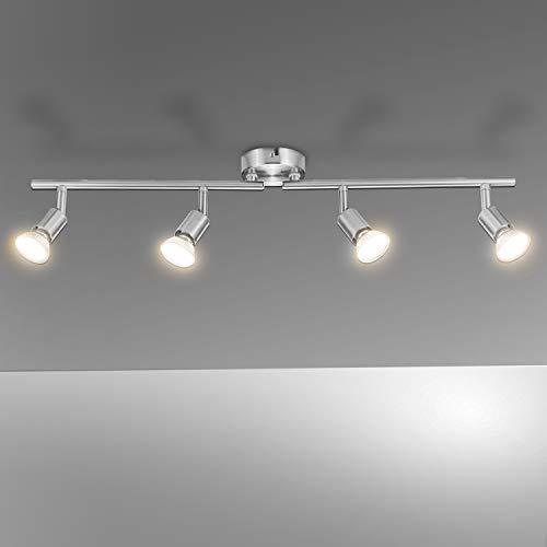 Lampadario da Soffitto, Bojim Plafoniera con 4 Faretti Orientabili LED GU10 Bianco Caldo 6W Pari a 54W 600LM 220V 2800K, Lampada Moderna Sistemi di Faretti per Camera Salotto Soggiorno Cucina