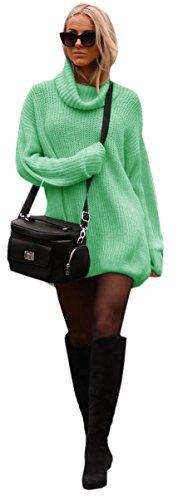 Bellissimo Carino Lungo Collo Alto Maglione Pullover Sweater Donna Ragazza (648) (Menta)