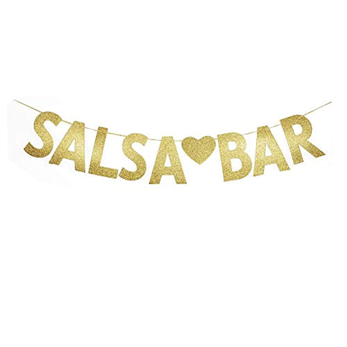 Salsa Bar Gold Gliter Paper Banner, Birthday/Bachelorette/Wedding/Engagament Party Decorations