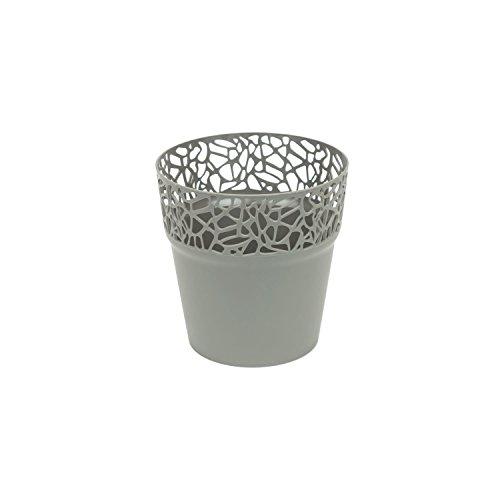 Rond cache-pot 12 cm NATURO plastique romantique style en gris