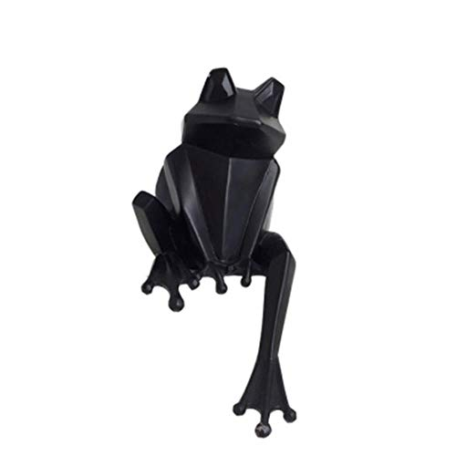 ZYM Escultura de Rana Origami de Resina Creativa Nórdica Estatua de Rana Vintage Decoración del Hogar Artesanía Resina Animal Figurina-Negro