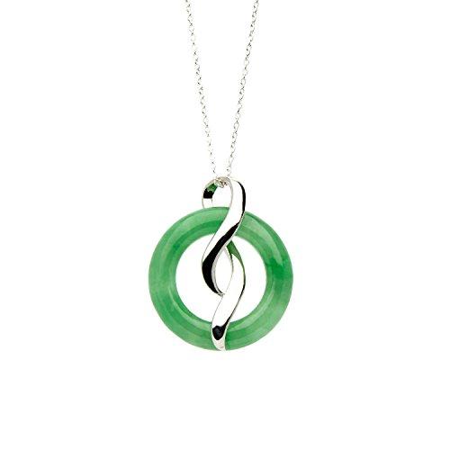 Orientalischer, grüner Jade-Anhänger mit 46 cm langer Halskette aus Sterlingsilber