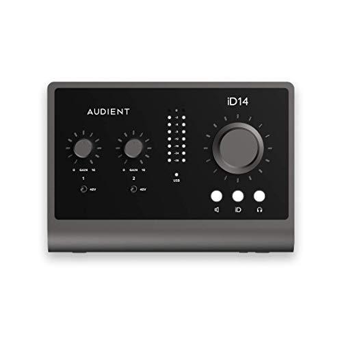 Interfaz de audio Audient iD14 MKII, 2 preamplificadores de micrófono clase a (Interfaz de audio USB de alto rendimiento, USB-C, mezcla de monitores y función de panorámica de monitores) negro