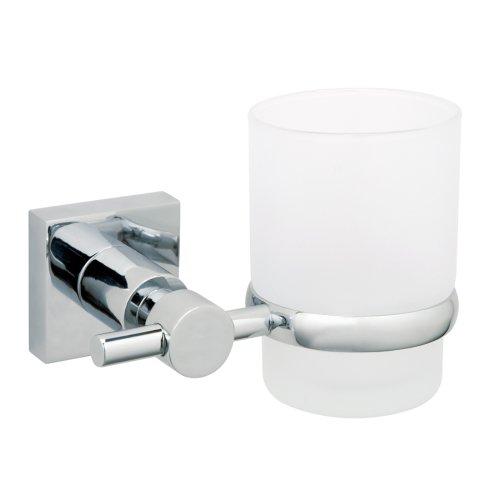 Nie Wieder Bohren hukk Zahnbürstenhalter, für die Wand, verchromt, satiniertes Glas, inkl. Klebelösung, hält bis 6kg, 95mm x 125mm x 90mm