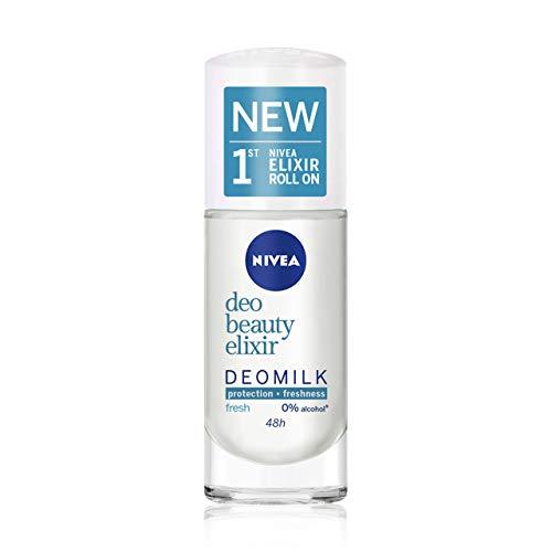 NIVEA DeoMilk Fresh Beauty Elixir Desodorante Roll on (1 x 40 ml), con esencia de leche rehidrata y protege, desodorante antitranspirante para una piel suave y fresca