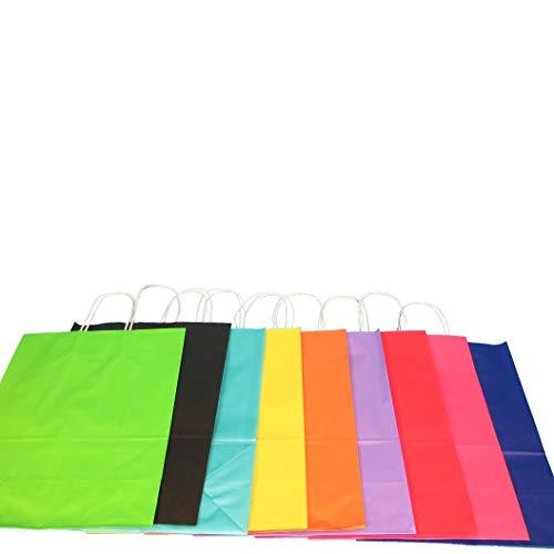 Pro DP 250-350 Papiertragetaschen Papiertüten Einkaufstüten farbig bunt mit Kordel Henkel 9 5 Größen zur Auswahl (32+12x41cm, Rosa)
