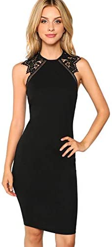 Verdusa Women s Sleeveless Lace Insert Knee Length Bodycon Pencil Party Dress Black XL product image