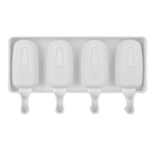 Molde de silicona para hacer helados con 4 agujeros, para hacer helados o helados, molde para paletas de helado, molde para cubitos de hielo, herramienta de cocina pequeña blanco