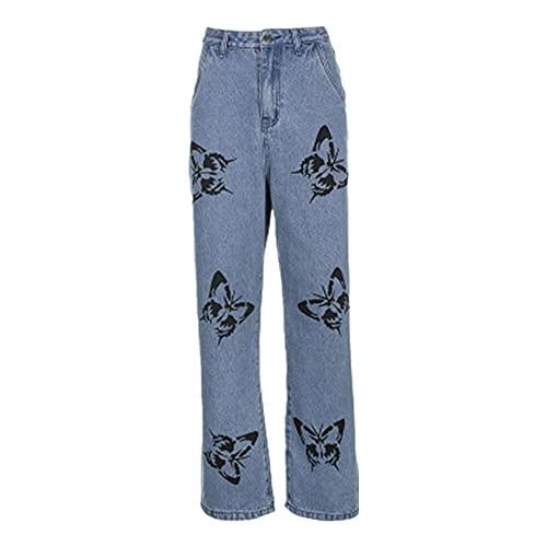 Imprimir Mujer Jeans De Pierna Ancha Ropa De Mezclilla De Las Mujeres Pantalones Largos Pantalón