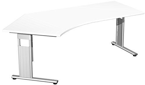 Schreibtisch Freiform 135° links, höhenverstellbar BxTxH 216,6x113x68-82cm Weiß/Silber