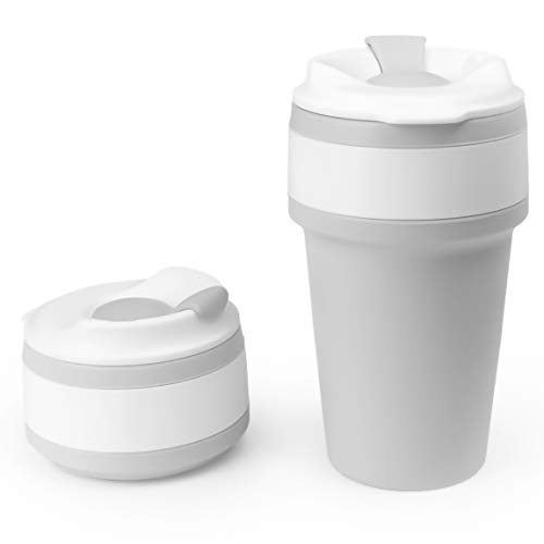 Mikka Collapsible Coffee Cup - Eco-friendly, reusable, sustainable tea/coffee travel mug made of BPA-free silicone for both indoor and outdoor use - 15oz (430ml) - Gray